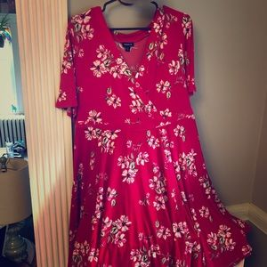 Hot Pink Floral Wrap Dress
